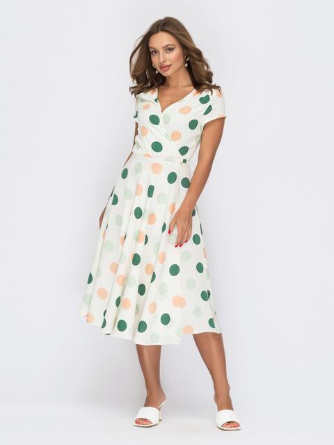 Белое платье на запах в разноцветный горох 54010, фото 1