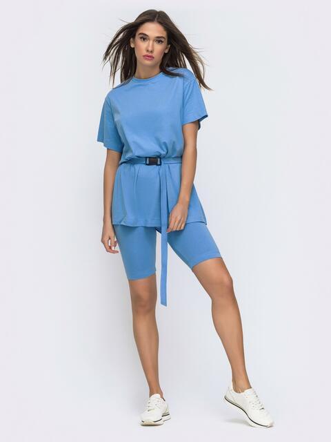 Голубой комплект с футболкой oversize+велосипедки  48300, фото 1