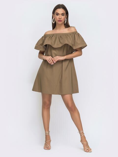 Коричневое платье свободного кроя с открытой линией плеч 48267, фото 1