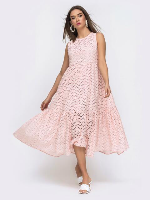 Расклешенное платье–миди из прошвы с подкладкой розовое - 48279, фото 1 – интернет-магазин Dressa
