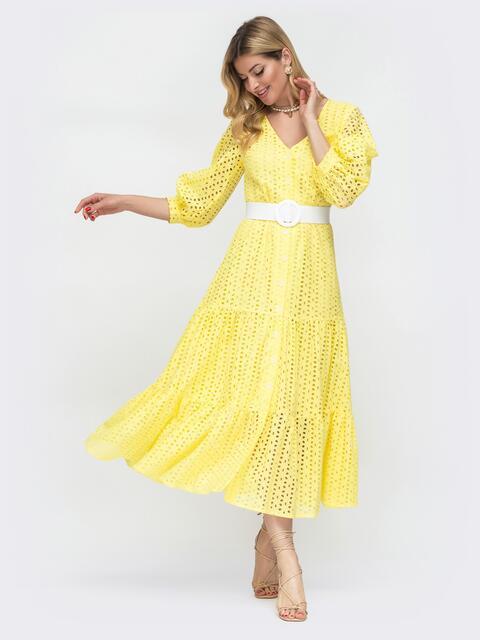 Расклешенное платье желтого цвета из прошвы  48281, фото 1