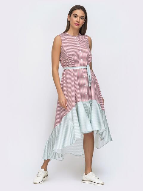 Розовое платье свободного кроя в полосу с удлинённой спинкой 48284, фото 1