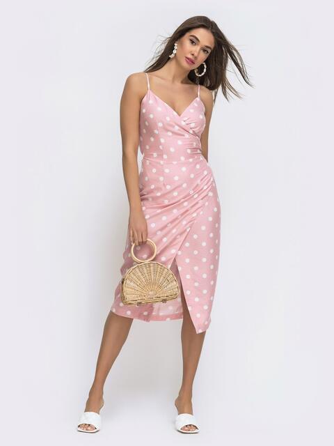 Розовый сарафан на запах в крупный горох  - 48289, фото 1 – интернет-магазин Dressa