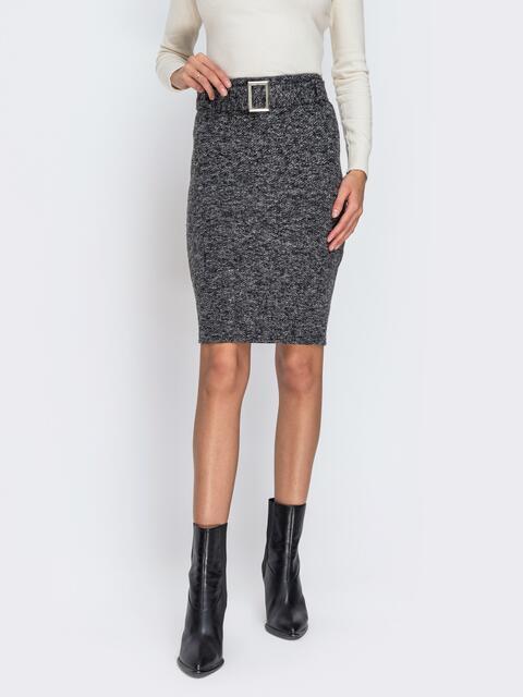 Серая юбка-карандаш с поясом в комплекте - 42288, фото 1 – интернет-магазин Dressa