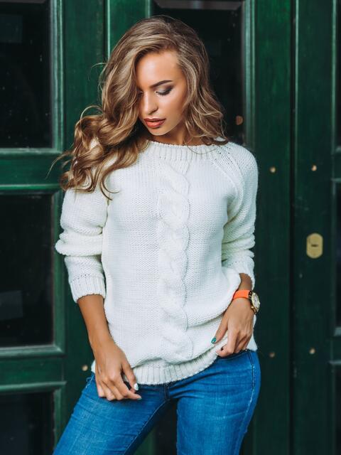 """Свитер с вырезом """"капля"""" на спине белый - 13048, фото 1 – интернет-магазин Dressa"""