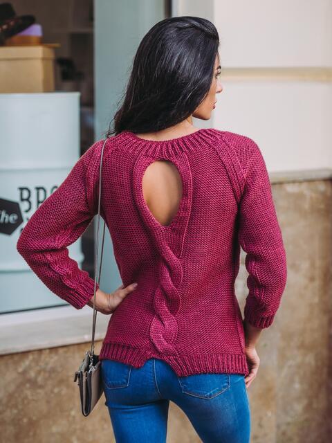 """Свитер с вырезом """"капля"""" на спине бордовый - 13050, фото 1 – интернет-магазин Dressa"""