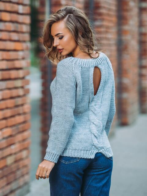 """Свитер с вырезом """"капля"""" на спине голубой - 13047, фото 1 – интернет-магазин Dressa"""