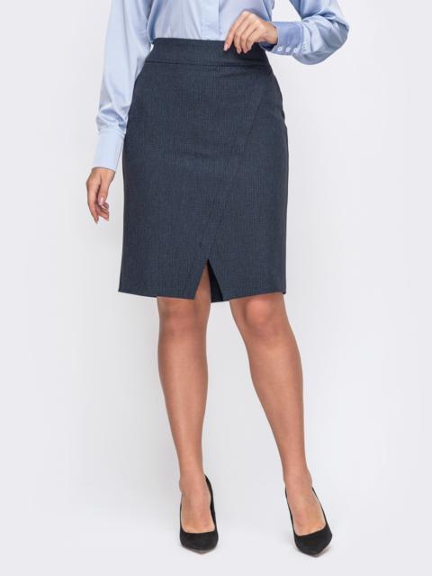 Тёмно-синяя юбка-карандаш большого размера со шлицей 50810, фото 1