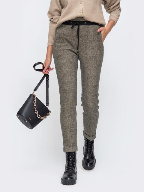 Зауженные брюки со стандартной посадкой и отворотами серые 50570, фото 1