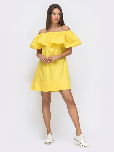 Желтое платье свободного кроя с открытой линией плеч 48268, фото 1
