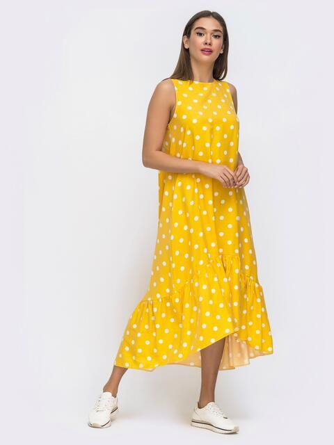 Желтое платье в горох с широкой оборкой по низу 48292, фото 1
