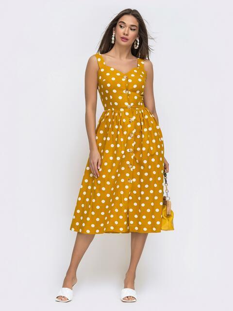 Желтый сарафан в крупный горох с карманами в боковых швах - 48272, фото 1 – интернет-магазин Dressa