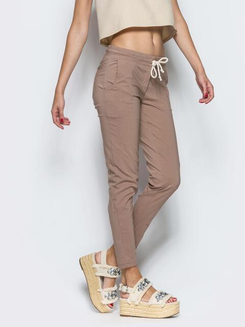 Бежевые брюки-бойфренды с резинкой на поясе - 10321, фото 1 – интернет-магазин Dressa