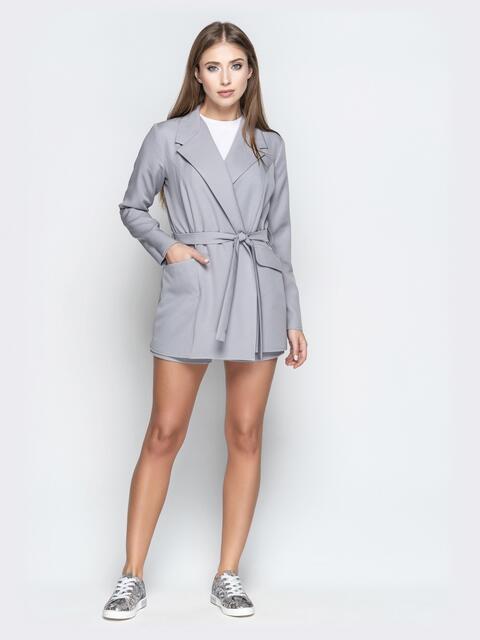 Комплект из пиджака без застёжек и шорт серый - 20942, фото 1 – интернет-магазин Dressa