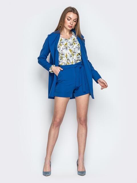 Комплект из пиджака без застёжек и шорт синий - 20943, фото 1 – интернет-магазин Dressa
