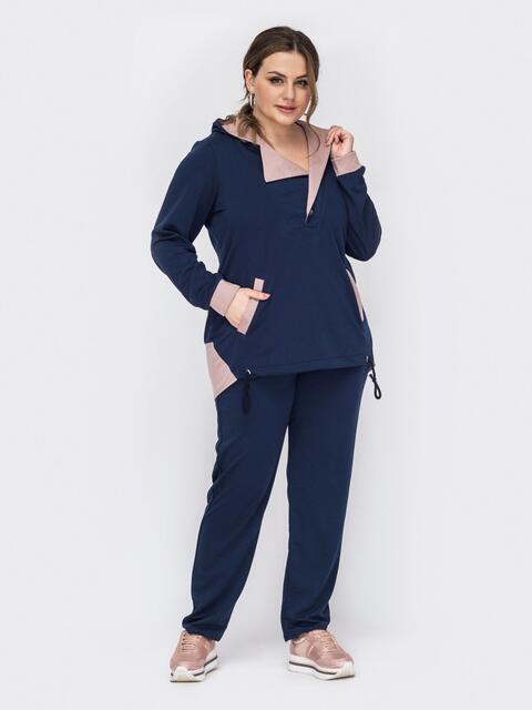 Костюм батал из худи с удлиненной спинкой и штанов темно-синий 53251, фото 1