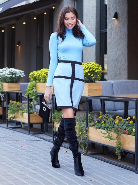 Платье-гольф голубого цвета с потайной молнией - 17549, фото 1 – интернет-магазин Dressa