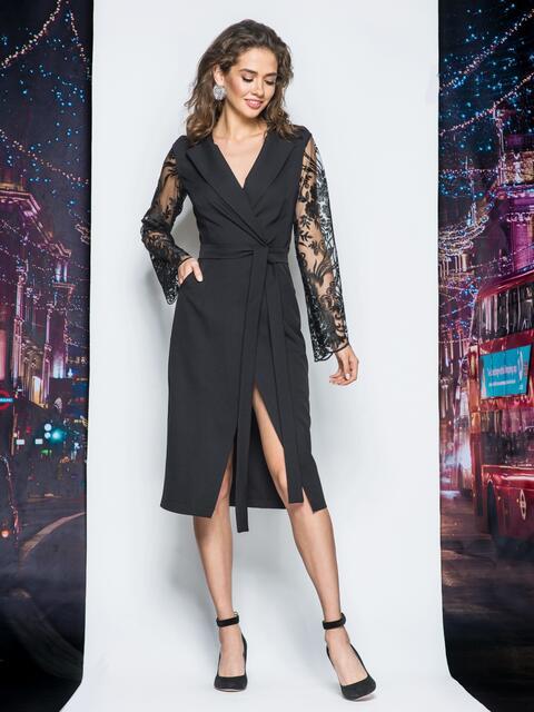 Платье-халат черного цвета с рукавами из гипюра - 17968, фото 1 – интернет-магазин Dressa
