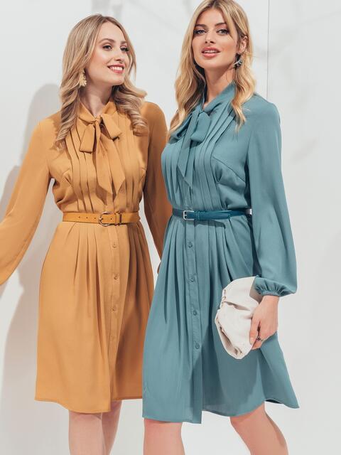 Платье на пуговицах с воротником-аскот голубого цвета - 45958, фото 1 – интернет-магазин Dressa