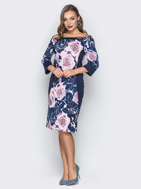 Принтованное платье с открытыми плечами синее - 19738, фото 1 – интернет-магазин Dressa