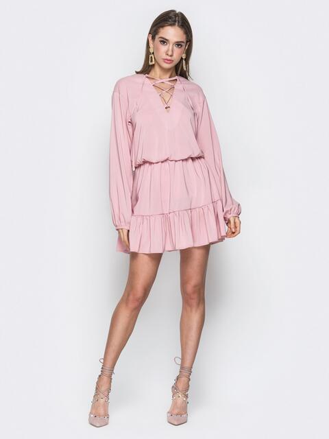 Розовое платье на резинке со шнуровкой по лифу - 20100, фото 1 – интернет-магазин Dressa