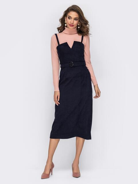 Сарафан из вельвета с фигурным вырезом тёмно-синий - 42001, фото 1 – интернет-магазин Dressa