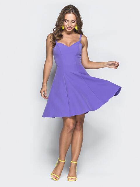 Сиреневое платье-мини с расклешенной юбкой - 39292, фото 1 – интернет-магазин Dressa