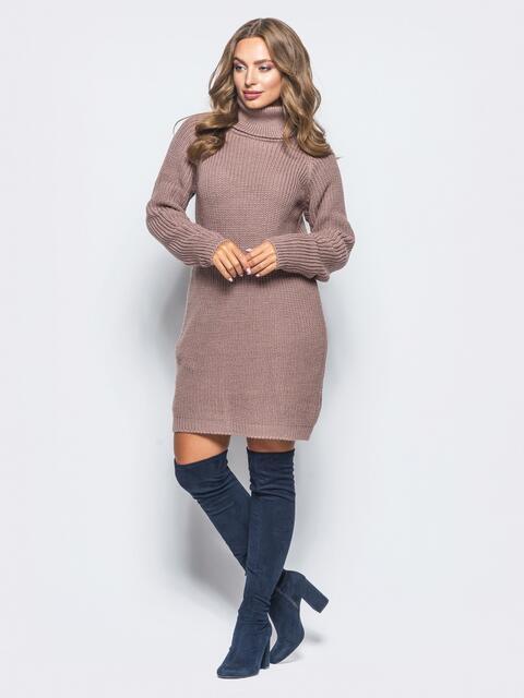 Вязаное платье на резинке с высоким воротником пудровое - 15928, фото 1 – интернет-магазин Dressa