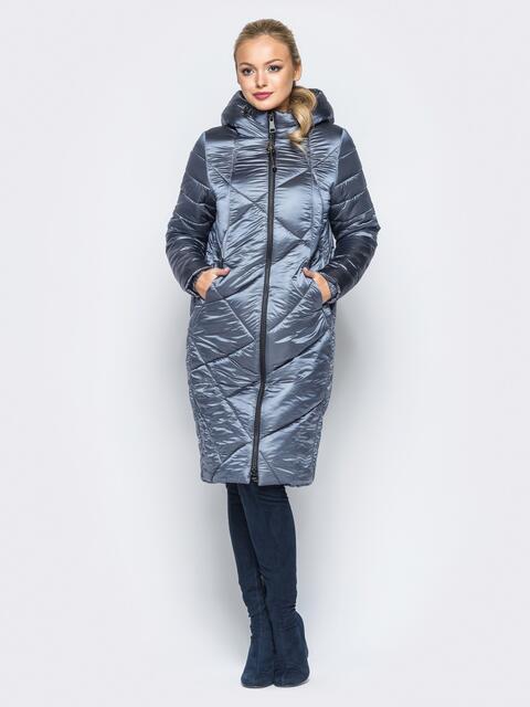 Зимняя куртка серого цвета с кулиской на капюшоне - 16992, фото 1 – интернет-магазин Dressa