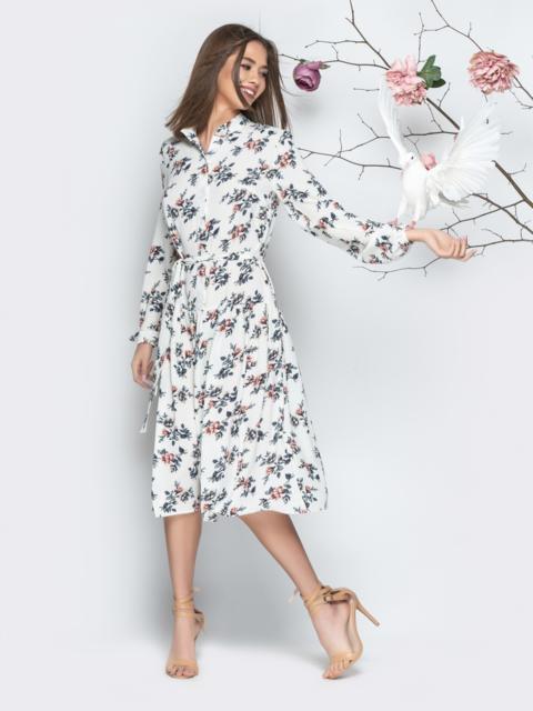 Белое принтованное платье-рубашка с юбкой-полусолнце - 20995, фото 1 – интернет-магазин Dressa