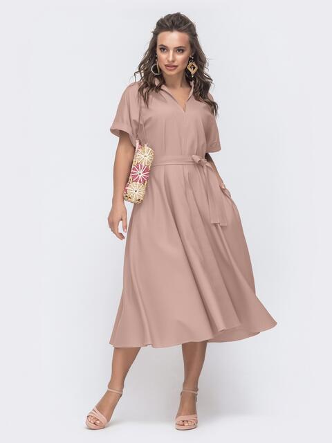 Бежевое платье-кимоно из льна с разрезом спереди 48749, фото 1