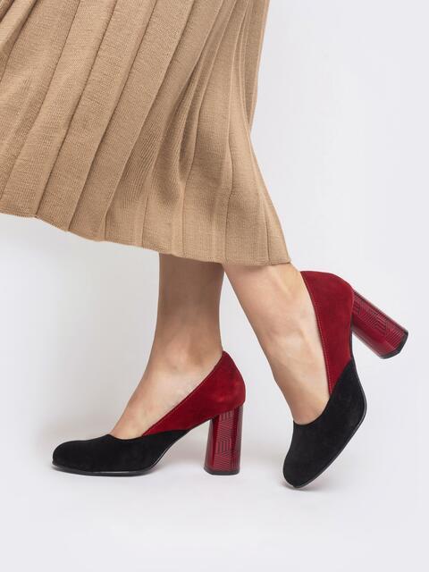 Чёрно-красные туфли из замши на устойчивом каблуке - 41696, фото 1 – интернет-магазин Dressa