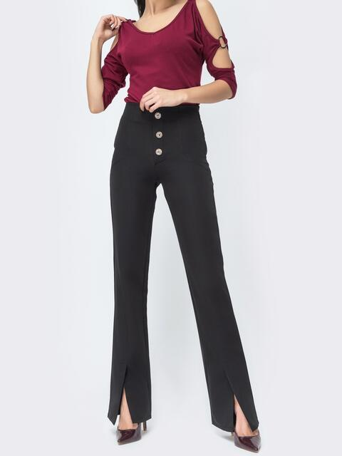 Чёрные брюки-клёш с разрезами по низу - 44116, фото 1 – интернет-магазин Dressa