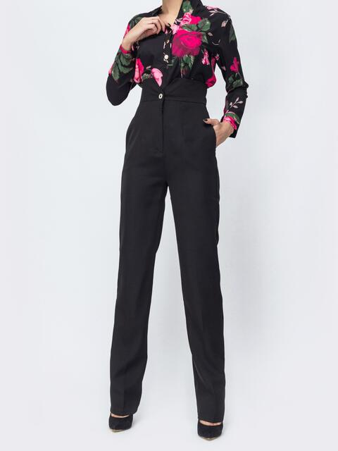 Чёрные брюки прямого кроя с высокой посадкой - 44114, фото 1 – интернет-магазин Dressa