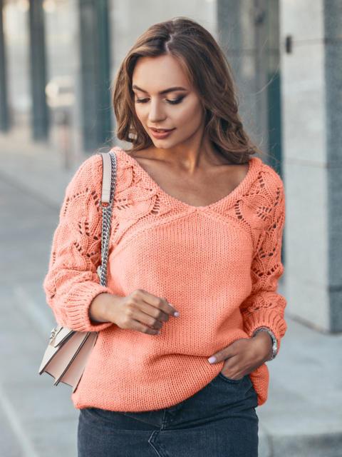 Джемпер с ажурными рукавами персиковый - 13105, фото 1 – интернет-магазин Dressa