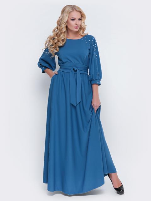 Голубое платье в пол с жемчугом - 19111, фото 1 – интернет-магазин Dressa