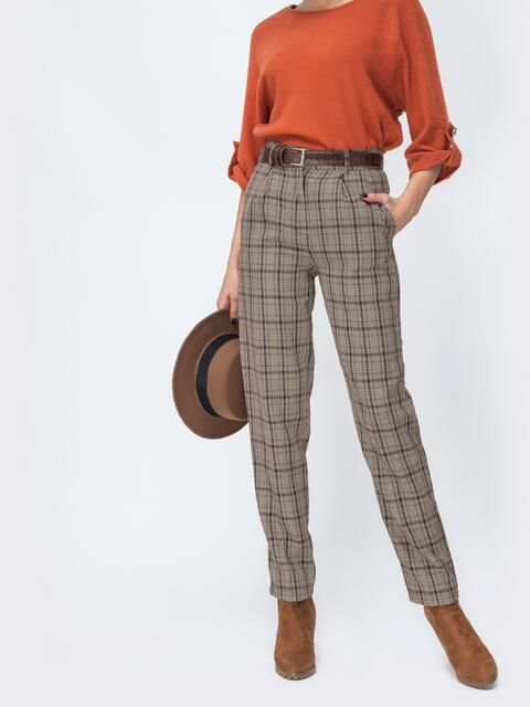 Коричневые брюки прямого кроя в клетку - 44113, фото 1 – интернет-магазин Dressa