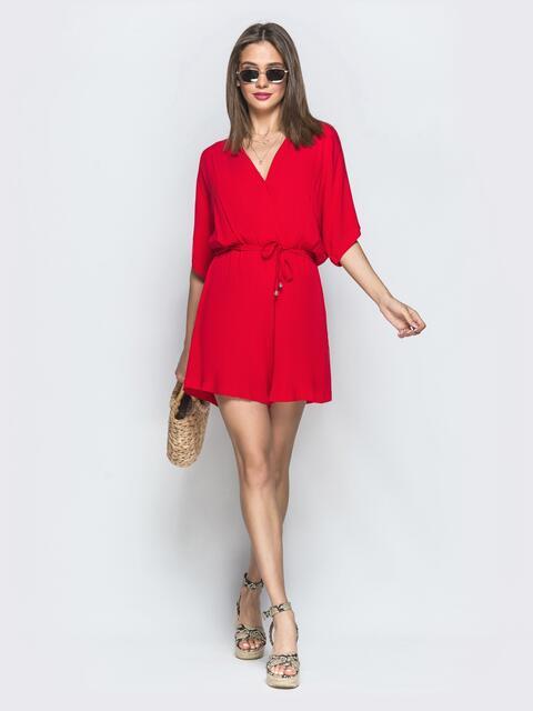 """Красный комбинезон-шорты с рукавом """"летучая мышь"""" 39532, фото 1"""