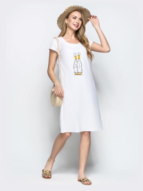 61bf006257d Льняное платье с вышивкой и коротким рукавом белое 21926 – купить в ...