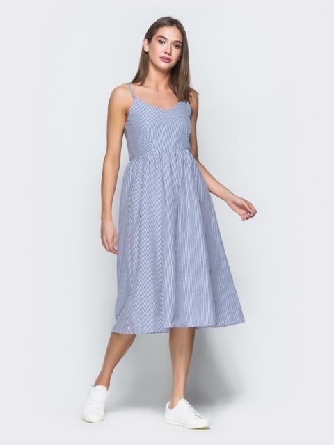 Льняной сарафан в синюю полоску с расклешенной юбкой - 38672, фото 1 – интернет-магазин Dressa