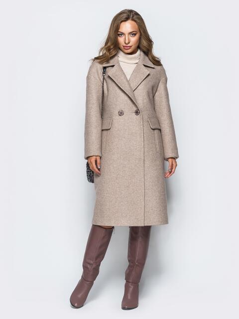 Пальто пудрового цвета с прорезными карманами - 17264, фото 1 – интернет-магазин Dressa