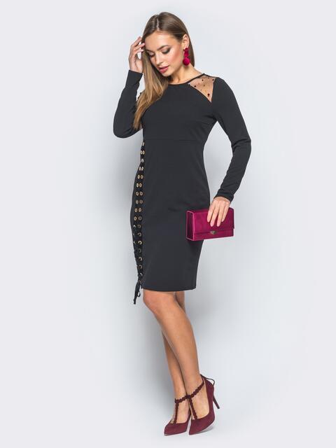 Платье-футляр с велюровой лентой черное - 18283, фото 1 – интернет-магазин Dressa