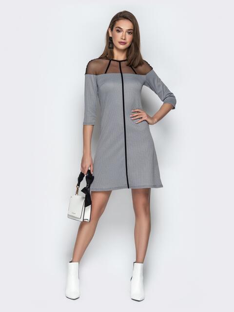 Приталенное платье с кокеткой из сетки и рукавами 3/4 серое - 21015, фото 1 – интернет-магазин Dressa