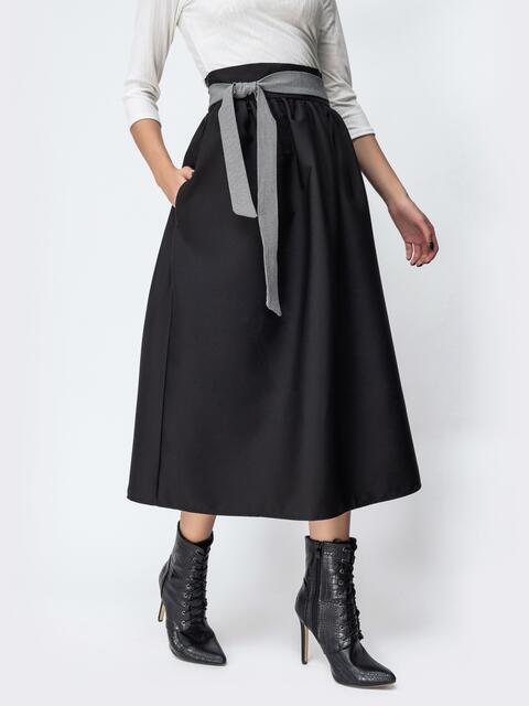 Расклешенная юбка чёрного цвета со вшитым поясом 44121, фото 1