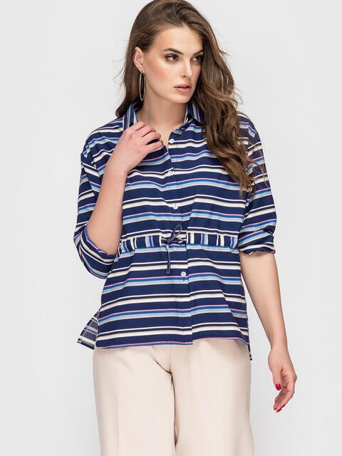 Синяя блузка в полоску с кулиской по талии 45576, фото 1