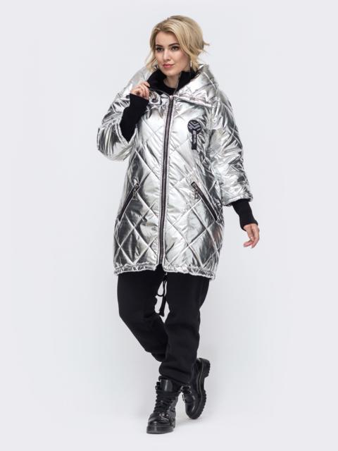 Стеганая куртка батал с трикотажными манжетами серая 50755, фото 1