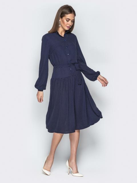 Тёмно-синее принтованное платье-рубашка с юбкой-полусолнце - 20994, фото 1 – интернет-магазин Dressa