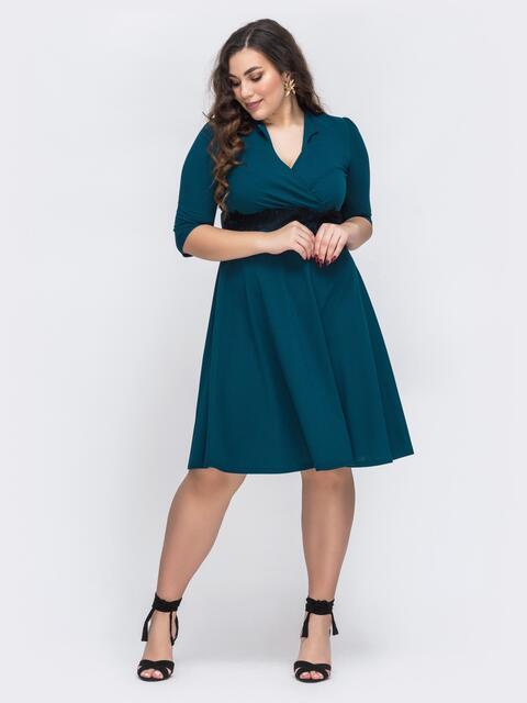 Зеленое платье большого размера с юбкой-полусолнце 43711, фото 1