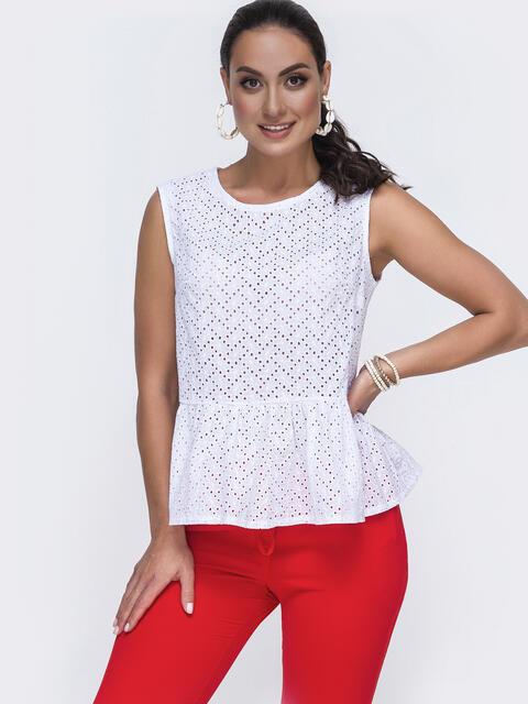 Белая блузка большого размера из прошвы с баской 49984, фото 1