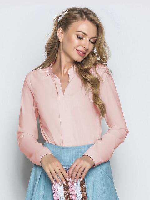 Блузка из софта с V-вырезом розовая - 49799, фото 1 – интернет-магазин Dressa